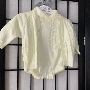 Baby Girl Yellow Knitted Onesie and Sweater